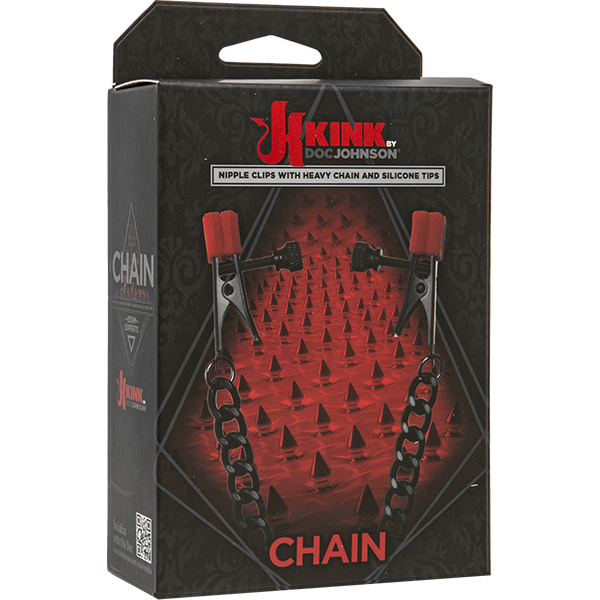 Зажимы на соски Kink «Chain - Nipple Clips With Heavy Chain and Silicone Tips»